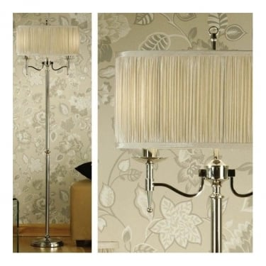 Interiors 1900 Stanford 2Lt Polished Nickel Plate & Beige Organza Effect Fabric 40W Floor Light (63622)
