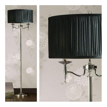Interiors 1900 Stanford 2Lt Polished Nickel Plate & Black Organza Effect Fabric 40W Floor Light (63624)