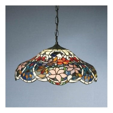 Interiors 1900 Sullivan 1Lt Tiffany Style Glass & Dark Bronze 60W Pendant Light (64325)