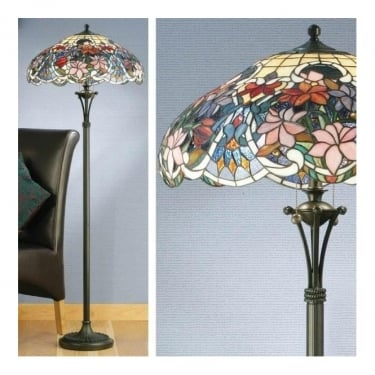 Interiors 1900 Sullivan 2Lt Tiffany Style Glass & Dark Bronze 60W Floor Light (64323)