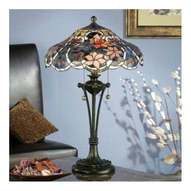 Interiors 1900 Sullivan 2Lt Tiffany Style Glass & Dark Bronze 60W Medium Table Light (64326)