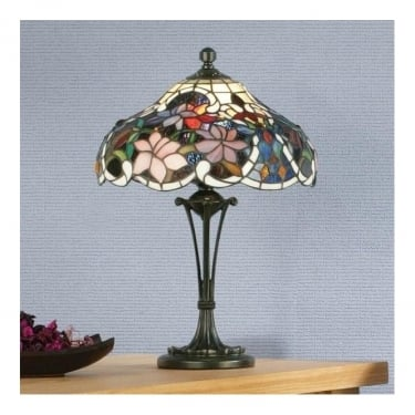 Interiors 1900 Sullivan 2Lt Tiffany Style Glass & Dark Bronze 60W Small Table Light (64327)