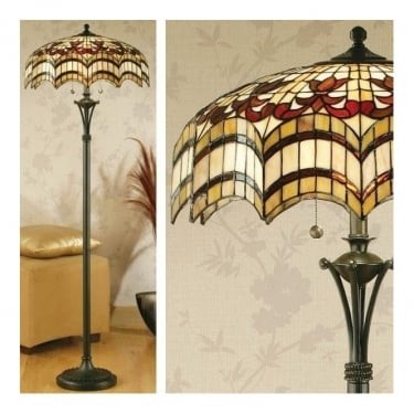 Interiors 1900 Vesta 2Lt Tiffany Style Glass & Dark Bronze 60W Floor Light (64373)
