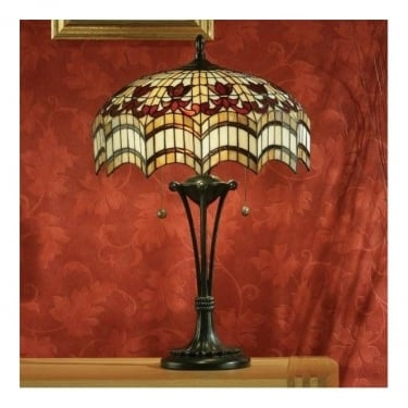 Interiors 1900 Vesta 2Lt Tiffany Style Glass & Dark Bronze 60W Medium Table Light (64377)