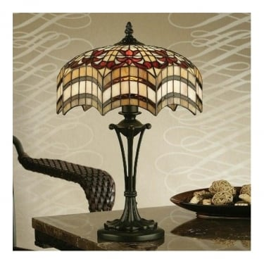 Interiors 1900 Vesta 2Lt Tiffany Style Glass & Dark Bronze 60W Small Table Light (64376)