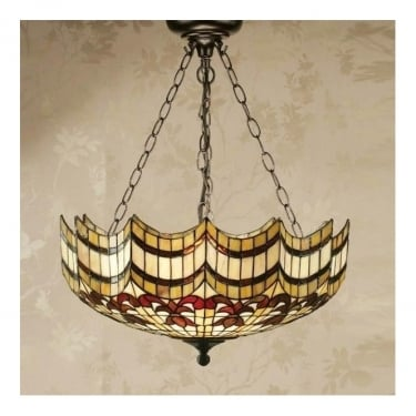 Interiors 1900 Vesta 3Lt Tiffany Style Glass & Dark Bronze 60W Large Inverted Pendant Light (64374)