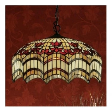 Interiors 1900 Vesta 3Lt Tiffany Style Glass & Dark Bronze 60W Medium Pendant Light (64375)