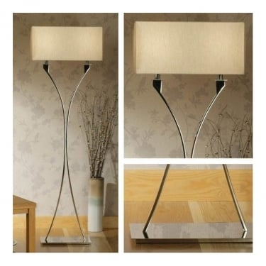 Interiors 1900 Vienna 2Lt Polished Nickel Plate & Beige Organza Effect Fabric 60W Floor Light (63747)