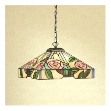 Interiors 1900 Willow Tiffany Glass Medium Pendant Light