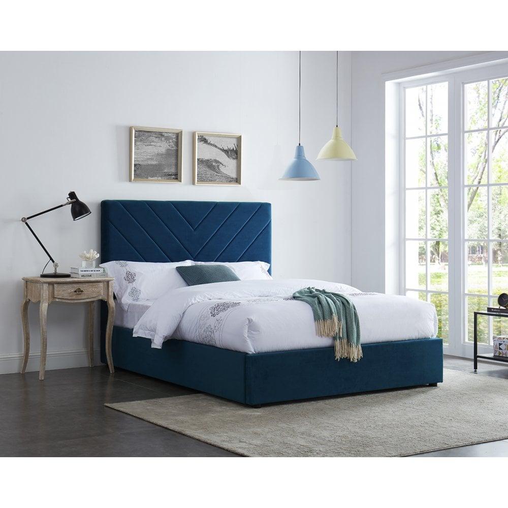 online store 4a635 c2122 Islington Double Upholstered Bed, Royal Blue & Velvet