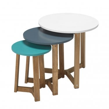 Jasper Round 3 Colour Nesting Tables, Oak