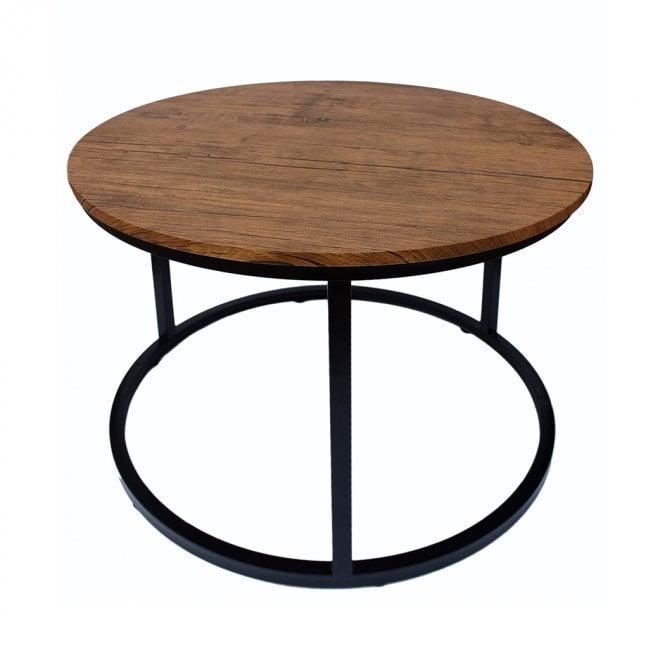 Java Round Coffee Table, Distressed Oak