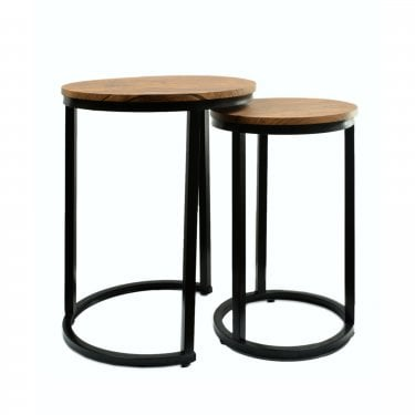 Java Round Nesting Tables, Distressed Oak