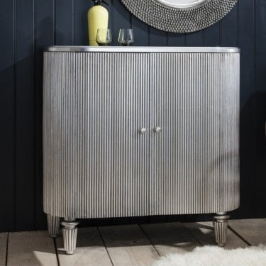Jeeves 2 Door Cocktail Cabinet, Silver Gilded