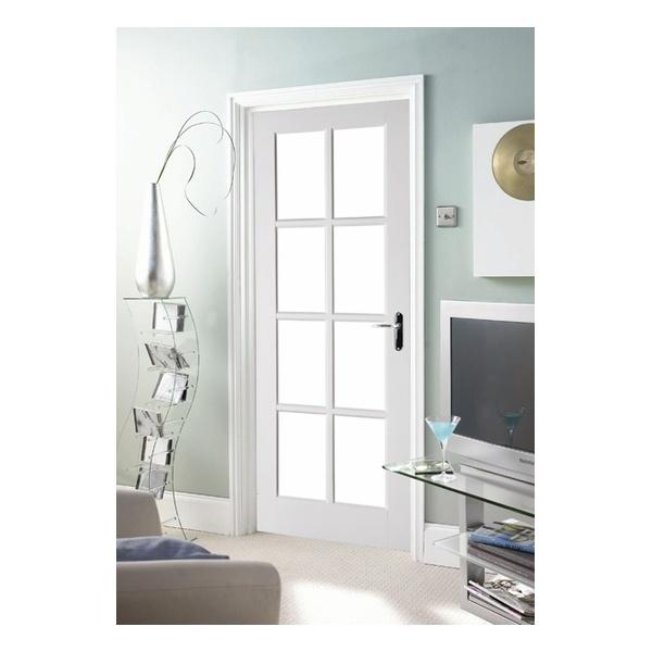 Interior clear glass door - Jeld Wen Avesta Internal White Primed 8 Light Clear