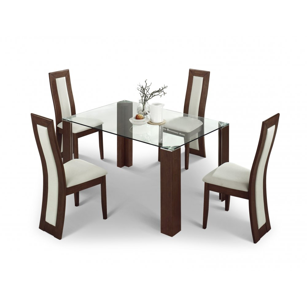 Julian Bowen Mistral Walnut Dining Table 6 Chairs Set
