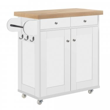 Julien Kitchen Cart, White & Oak