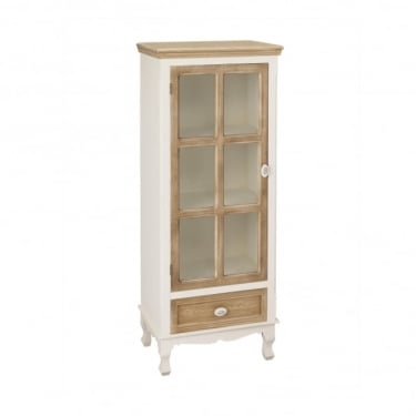Juliette 1 Door 1 Drawer Display Cabinet, Soft White & Distressed Pine