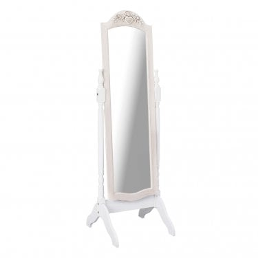 Juliette Cheval Mirror, Soft White & Distressed Pine