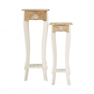 Juliette Lamp Stand Set, Soft White & Distressed Pine