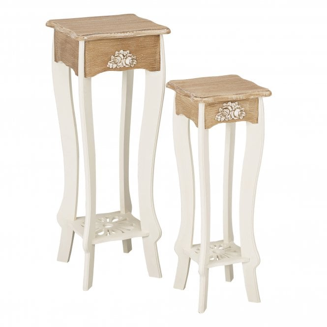 Juliette Lamp Table Set Of 2, Soft White & Distressed Pine
