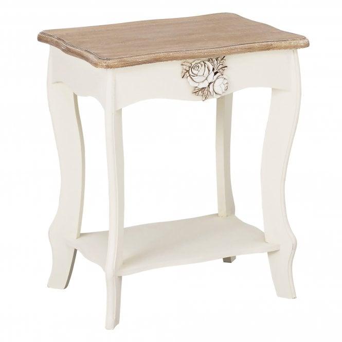 Juliette Rectangular Lamp Table, Soft White & Distressed Pine