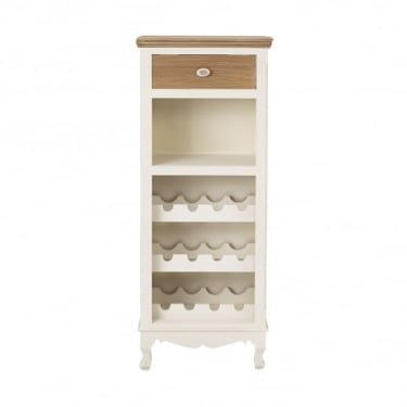 Juliette Wine Rack, Soft White & Distressed Pine