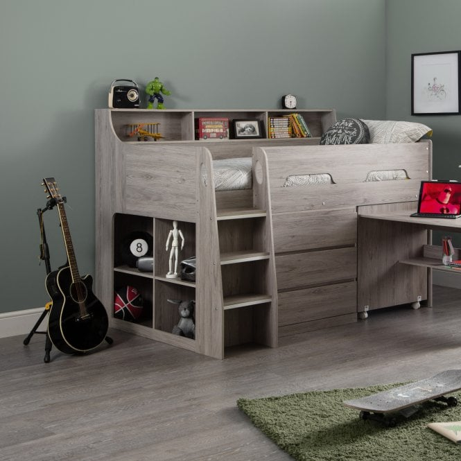 Jupiter Single (3'0'') Cabin Bed, Grey Oak Effect