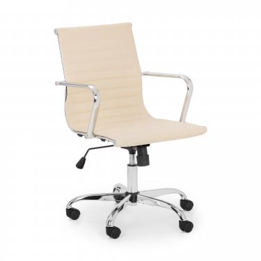 Karla Office Chair, Ivory Faux Leather