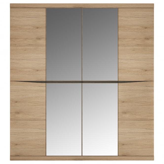 Kensington 4 Door Mirrored Wardrobe, Oak Effect