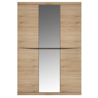 Kensington Oak & Dark Trim 3 Door Mirrored Wardrobe