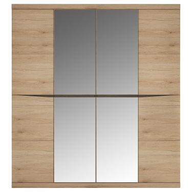 Kensington Oak & Dark Trim 4 Door Mirrored Wardrobe