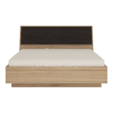 Kensington Oak & Dark Trim Double Ottoman Bed