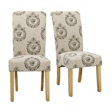 Kensington Regal Fabric Dining Chair Pair