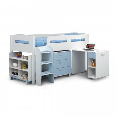 Kimbo Matt White & Blue Single Cabin Bed