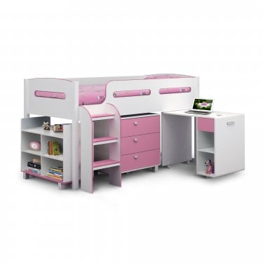 Kimbo Matt White & Pink Single Cabin Bed