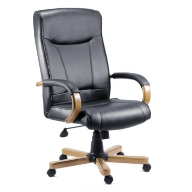 Kingston Black Executive Armchair with Light Wood Base