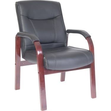 Kingston Black Executive Armchair with Mahogany Base
