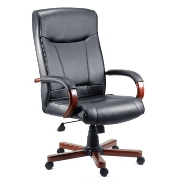 Kingston Black Executive Chair with Mahogany Base