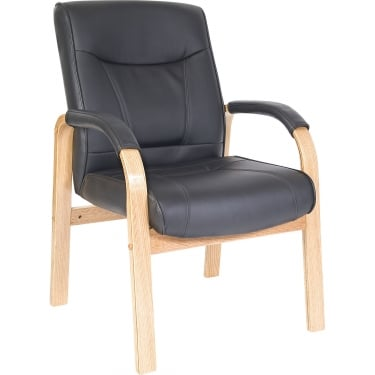 Kingston Black Visitor Chair with Light Wood Base