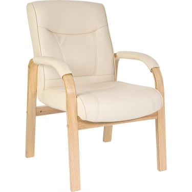 Knightsbridge Cream Visitor Chair with Light Wood Frame