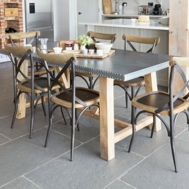 Kuba Large Studded Zinc Dining Table
