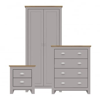 LPD Furniture Lancaster Bedroom Set, Grey & Oak
