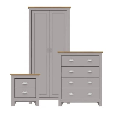 Lancaster Grey Oak Bedroom Set 3-Pack