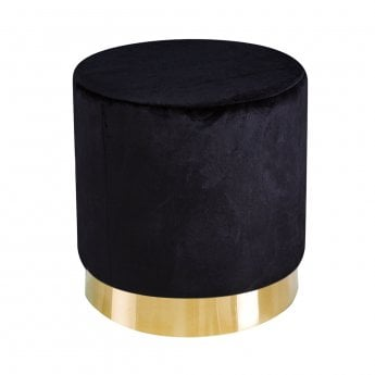 LPD Furniture Lara Black Velvet Pouffe