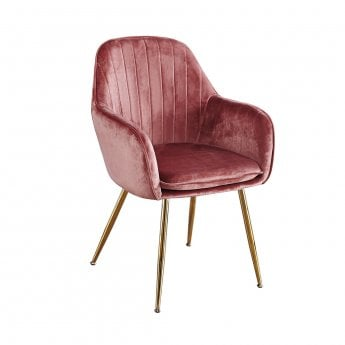 LPD Furniture Lara Dusty Pink Pair of Dining Chairs
