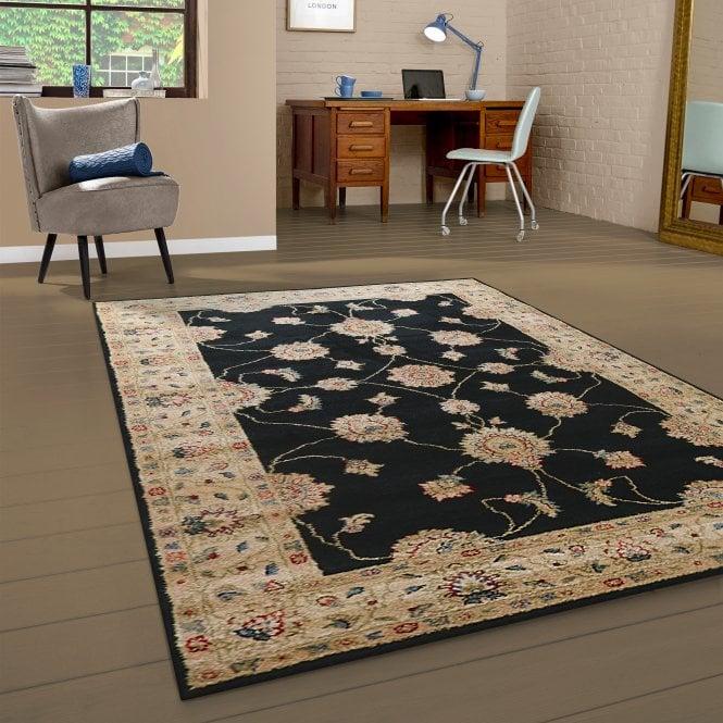 Large Majestic Black Floral Pattern Rug 230x160cm (26311-690-160230)