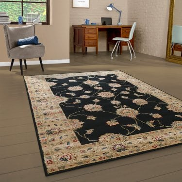Large Majestic Black Floral Pattern Rug 230x160cm (26311-690-160230)