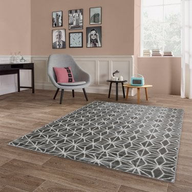 Large Model Argyle Grey Diamond Rug 230x160cm (40106-070-160230)