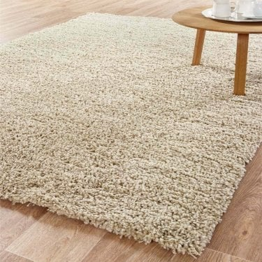 Large Sunshine Soft Cream Linen Shaggy Rug 170x120cm (70071-056-120170)
